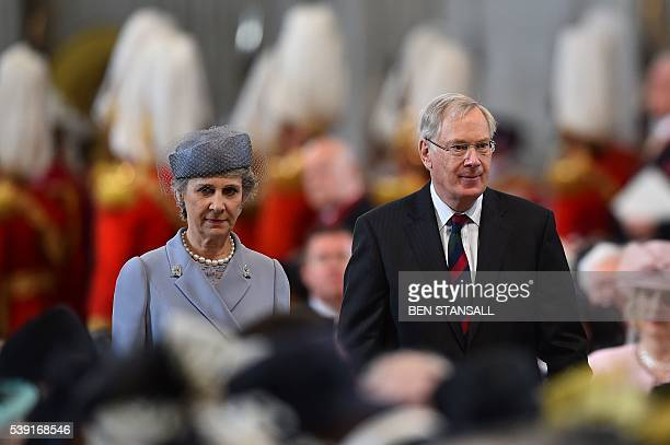 Britain's Prince Richard Duke of Gloucester and Britain's Birgitte Duchess of Gloucester arrive to attend a national service of thanksgiving for the...