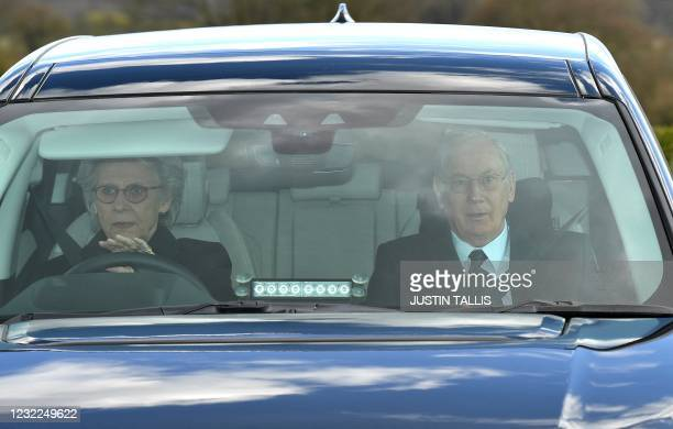 Britain's Prince Richard, Duke of Gloucester, and his wife Britain's Birgitte, Duchess of Gloucester, in Windsor, west of London, on April 11 two...