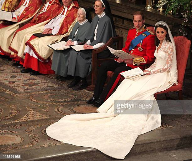 Britain's Prince William and his bride Kate Middleton attend their wedding ceremony at Westminster Abbey in London on April 29 2011 AFP PHOTO / WPA...