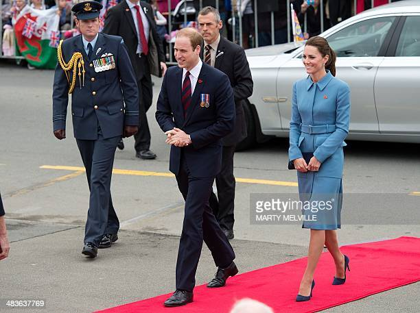 Britain's Prince William and his wife Catherine arrive at the War Memorial during a wreath laying ceremony commemorating 100 years since the start of...