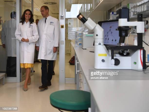 Britain's Prince William and his wife Catherine Duchess of Cambridge visit the Deutsches Krebsforschungszentrum in Heidelberg Germany 20 July 2017...