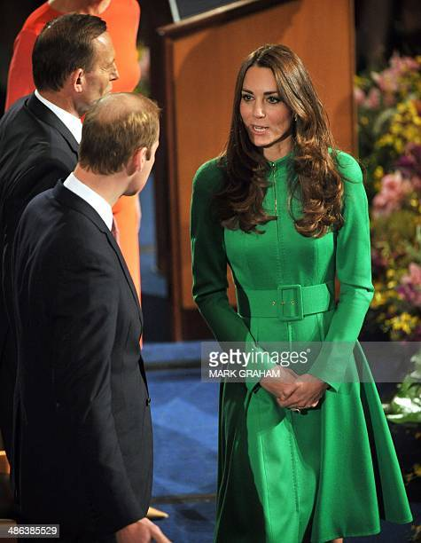 Britain's Prince William and his wife Catherine Duchess of Cambridge arrive for at reception hosted by Australia's Prime Minister Tony Abbott at...