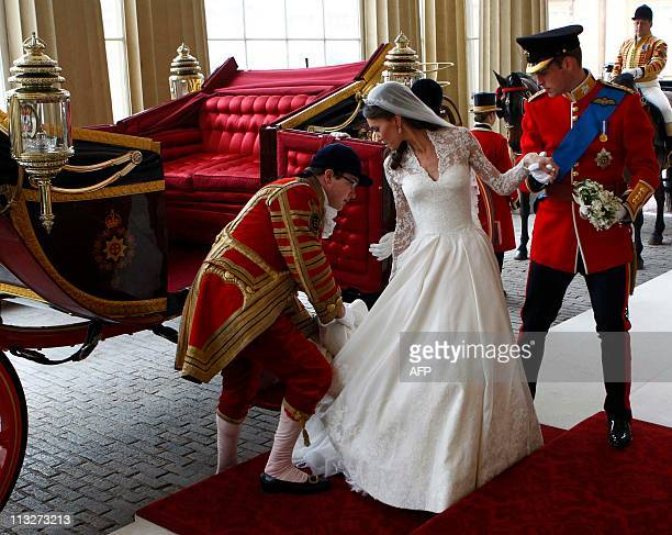 Britain's Prince William and his wife Kate Duchess of Cambridge leave the 1902 State Landau carriage as they arrive at Buckingham Palace after their...