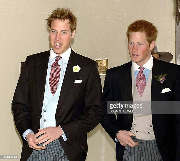 Britain's Prince William and Prince Harry arrive at the Guildhall in Windsor for the civil wedding ceremony of their father Prince Charles to Camilla...