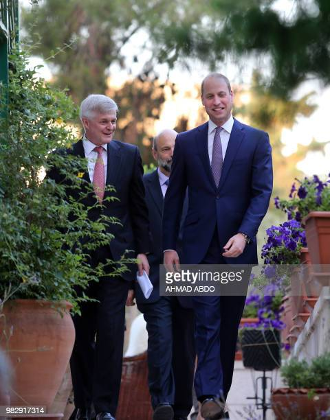 Britain's Prince William arrives to attend a birthday party in honour of his grandmother Queen Elizabeth II at the residence of the British...