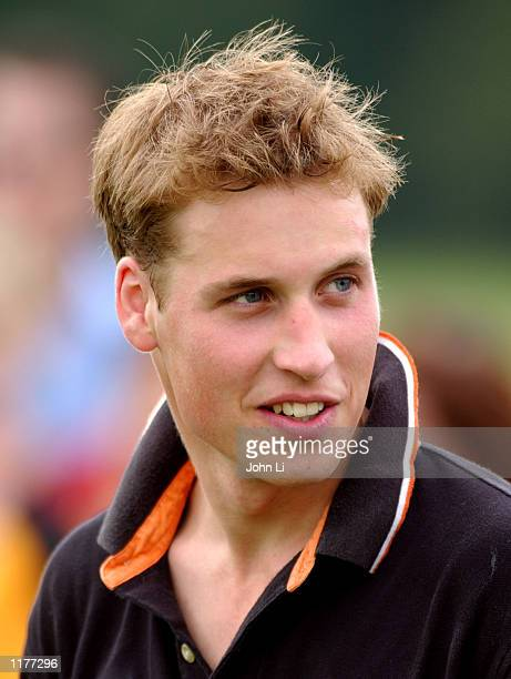 Britain's Prince William attends a polo match at the Beaufort Polo Club for The Desert Dagger Trophy July 27 2002 in Glocestershire England