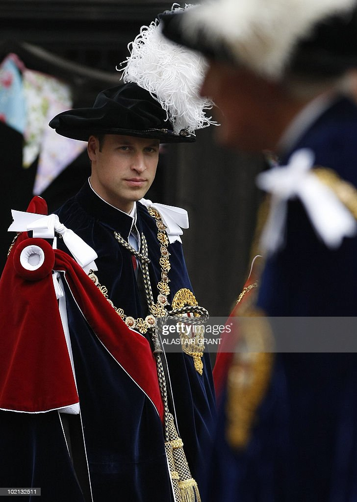 Britain's Prince William attends The Order of the Garter Service, at St George's Chapel in Windsor Castle, Windsor, southern England on June 14, 2010. The Order of the Garter is the most senior and the oldest British Order of Chivalry and was founded by Edward III in 1348. The patron saint of the Order is St George (patron saint of soldiers and also of England) and the spiritual home of the Order is St George's Chapel, Windsor. Every knight is required to display a banner of his arms in the Chapel, together with a helmet, crest and sword and an enamelled stallplate. These 'achievements' are taken down on the knight's death and the insignia are returned to the Sovereign. The stallplates remain as a memorial and these now form one of the finest collections of heraldry in the world. AFP PHOTO / POOL / Alastair Grant