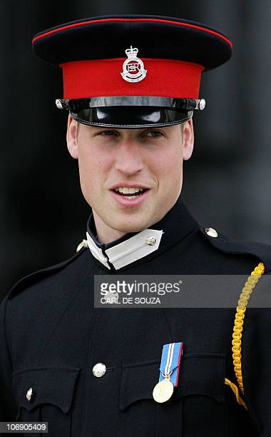 Britain's Prince William attends the Sovereign's Parade at Sandhurst Military Academy in southeast England 12 April 2006 after watching his brother...