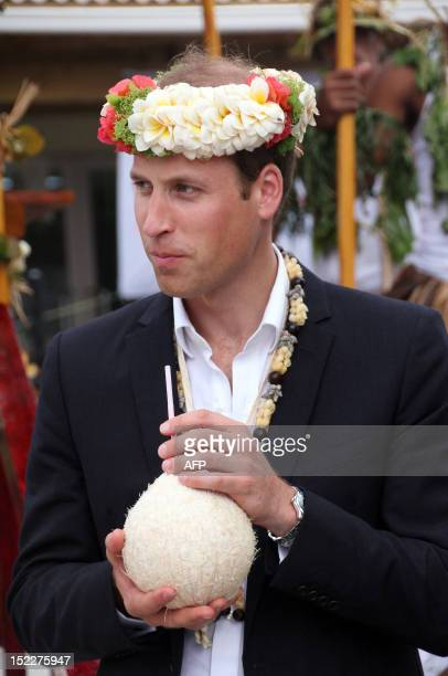 Britain S Prince William Drinks A Coconut From Tree Planted By His Grandmother Queen Elizabeth Ii