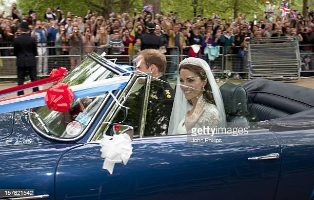 Britain'S Prince William Drives His Wife Princess Catherine Duchess Of Cambridge Down The Mall In London In His Father Prince Charles' Aston Martin...