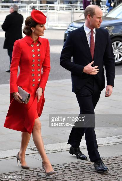 Britain's Prince William Duke of Cambridge and Britain's Catherine Duchess of Cambridge arrive to attend a Commonwealth Day Service at Westminster...