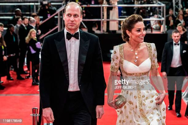 Britain's Prince William Duke of Cambridge and Britain's Catherine Duchess of Cambridge arrive for the BAFTA British Academy Film Awards at the Royal...