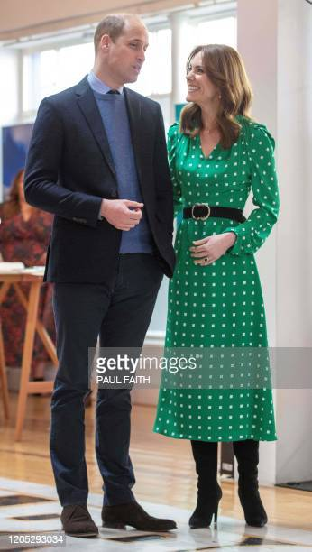 Britain's Prince William, Duke of Cambridge, and Britain's Catherine, Duchess of Cambridge, attend a special event in Tribeton in Galway, western...