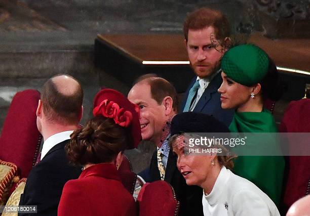 Britain's Prince William Duke of Cambridge and Britain's Catherine Duchess of Cambridge chat with Britain's Prince Edward Earl of Wessex and...