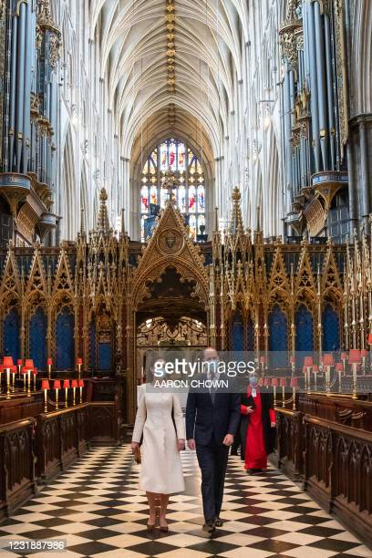 Britain's Prince William, Duke of Cambridge and Britain's Catherine, Duchess of Cambridge visit a coronavirus vaccination centre set up at...