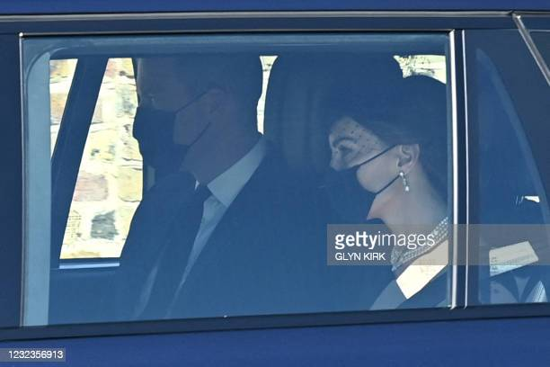 Britain's Prince William, Duke of Cambridge and Britain's Catherine, Duchess of Cambridge arrive for the funeral service of Britain's Prince Philip,...