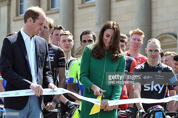 Britain's Prince William Duke of Cambridge and Britain's Catherine Duchess of Cambridge take part in the ribboncutting ceremony as Britain's...