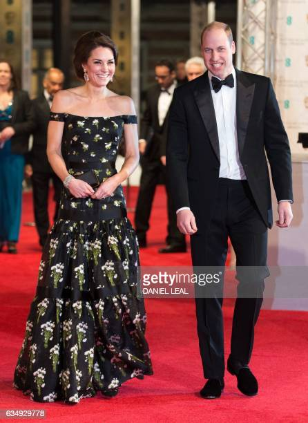Britain's Prince William Duke of Cambridge and Britain's Catherine Duchess of Cambridge arrive to attend the BAFTA British Academy Film Awards at the...
