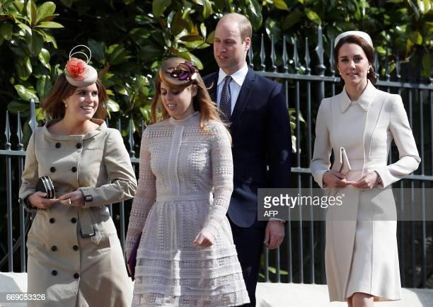 Britain's Prince William Duke of Cambridge and Britain's Catherine Duchess of Cambridge Britain's Princess Eugenie of York and Britain's Princess...