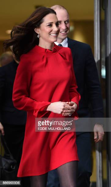 Britain's Prince William Duke of Cambridge and Britain's Catherine Duchess of Cambridge attend the Children's Global Media Summit at the Manchester...