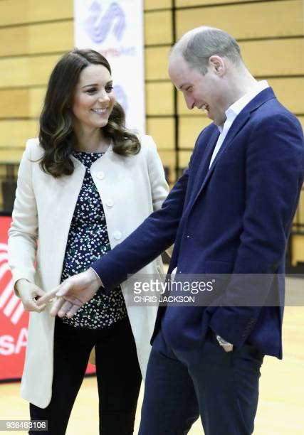 Britain's Prince William Duke of Cambridge and Britain's Catherine Duchess of Cambridge meet wheelchair basketball players some of whom hope to...