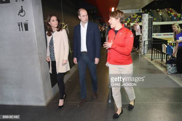 Britain's Prince William Duke of Cambridge and Britain's Catherine Duchess of Cambridge visit a SportsAid event held at the Copperbox Arena in the...
