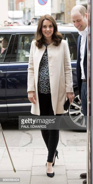 Britain's Prince William Duke of Cambridge and Britain's Catherine Duchess of Cambridge arrive to take part in preparations for a Commonwealth Big...