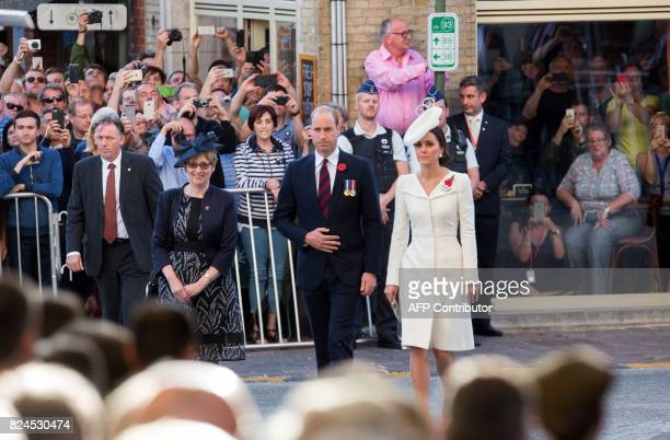 Britain's Prince William Duke of Cambridge and Britain's Catherine the Duchess of Cambridg arrive to attend the Last Post ceremony at the...