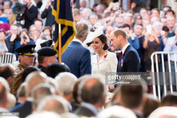 Britain's Prince William Duke of Cambridge and Britain's Catherine the Duchess of Cambridg arive to attend the Last Post ceremony at the Commonwealth...