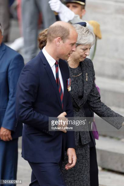 Britain's Prince William Duke of Cambridge and Britain's Prime Minister Theresa May after a religious ceremony to mark the 100th anniversary of the...