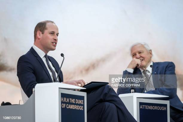 Britain's Prince William Duke of Cambridge and British naturalist documentary maker and broadcaster David Attenborough attend a conversation during...