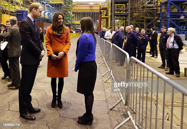 Britain's Prince William Duke of Cambridge and Catherine Duchess of Cambridge visit the Astuteclass Submarine Building at BAE Systems in...