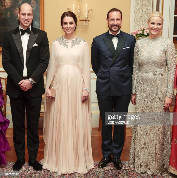 Britain's Prince William Duke of Cambridge and his wife Britain's Catherine Duchess of Cambridge pose for photographs with Norway's Crown Princess...
