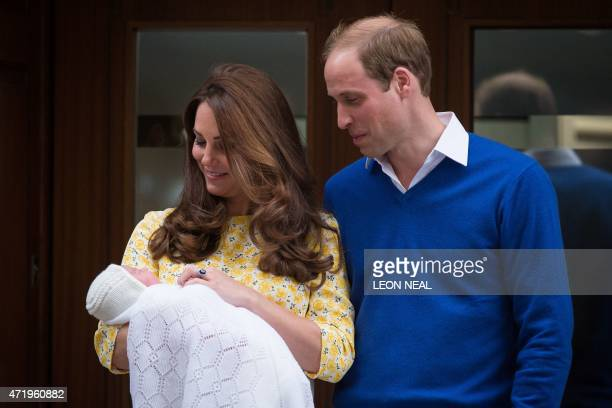 Britain's Prince William Duke of Cambridge and his wife Catherine Duchess of Cambridge show their newlyborn daughter their second child to the media...