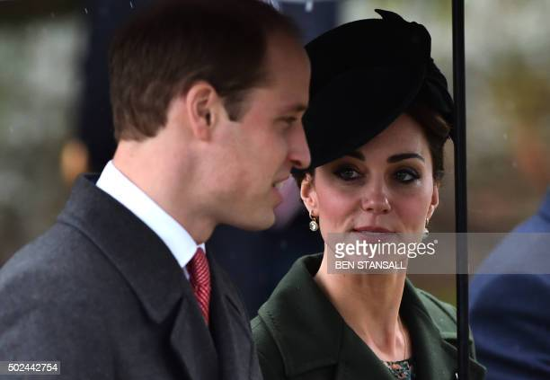 Britain's Prince William Duke of Cambridge and his wife Catherine Duchess of Cambridge walk away after a traditional Christmas Day Church Service at...