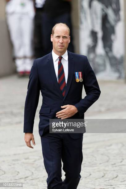 Britain's Prince William Duke of Cambridge arrives for a religious ceremony to mark the 100th anniversary of the World War I Battle of Amiens at the...
