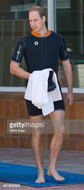 Britain's Prince William Duke of Cambridge as he prepares to snorkel and scuba dive with British SubAqua Club members at a swimming pool on July 9...