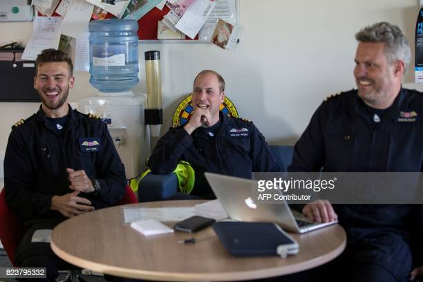 Britain's Prince William Duke of Cambridge attends a briefing at the start of his final shift working with the East Anglian Air Ambulance as a pilot...