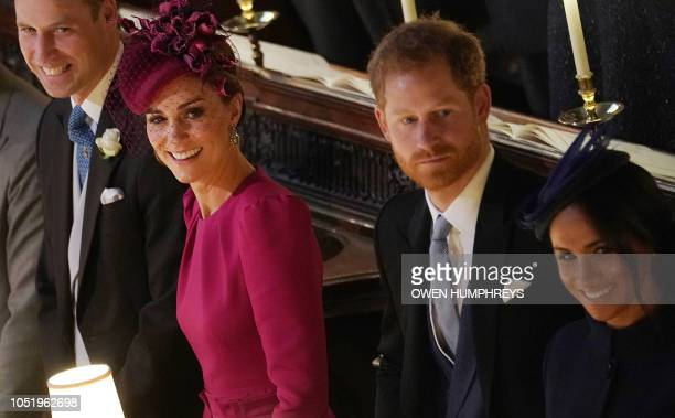 Britain's Prince William Duke of Cambridge Britain's Catherine Duchess of Cambridge Britain's Prince Harry Duke of Sussex and Meghan Duchess of...