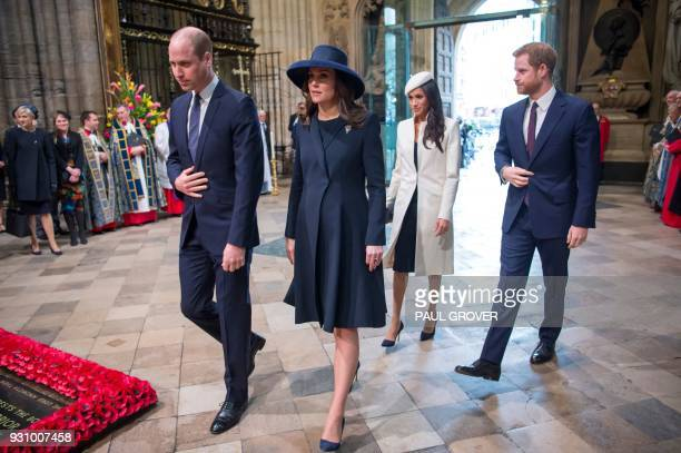 TOPSHOT Britain's Prince William Duke of Cambridge Britain's Catherine Duchess of Cambridge US actress Meghan Markle and her fiancee Britain's Prince...