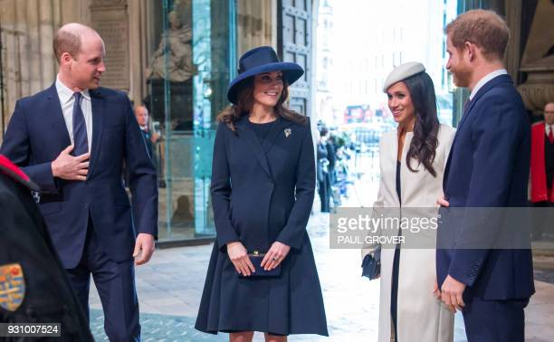 Britain's Prince William Duke of Cambridge Britain's Catherine Duchess of Cambridge US actress Meghan Markle and her fiancee Britain's Prince Harry...