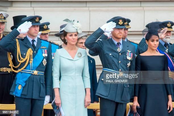Britain's Prince William Duke of Cambridge Britain's Catherine Duchess of Cambridge Britain's Prince Harry Duke of Sussex and Britain's Meghan...