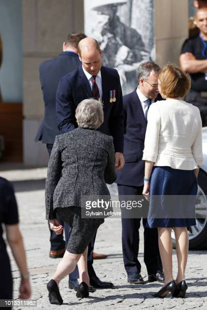 Britain's Prince William Duke of Cambridge Britain's Prime Minister Theresa May and French Minister of the Armed Forces Florence Parly leave after a...