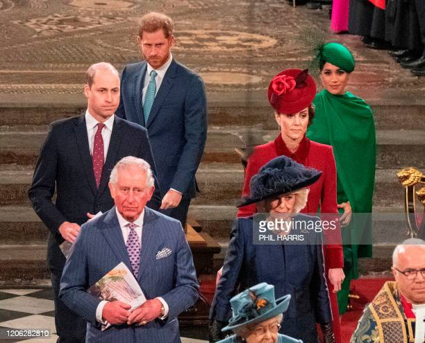 Britain's Prince William, Duke of Cambridge , Britain's Prince Charles, Prince of Wales , Britain's Prince Harry, Duke of Sussex , Britain's Camilla,...