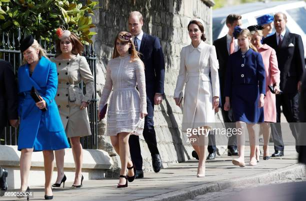 Britain's Prince William Duke of Cambridge Catherine Duchess of Cambridge Britain's Princess Eugenie of York Princess Beatrice of York Britain's...