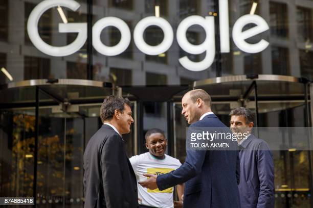 Britain's Prince William Duke of Cambridge chats with British entrepeneur Brent Hoberman anticyber bullying campaigner James Okulaja and President of...