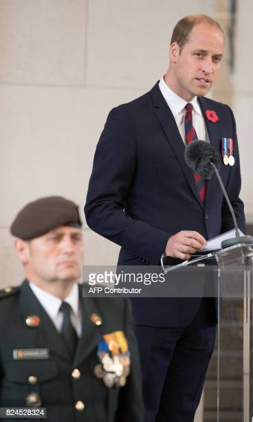 Britain's Prince William Duke of Cambridge delivers a speech at the Last Post ceremony at the Commonwealth War Graves Commission Ypres Memorial at...
