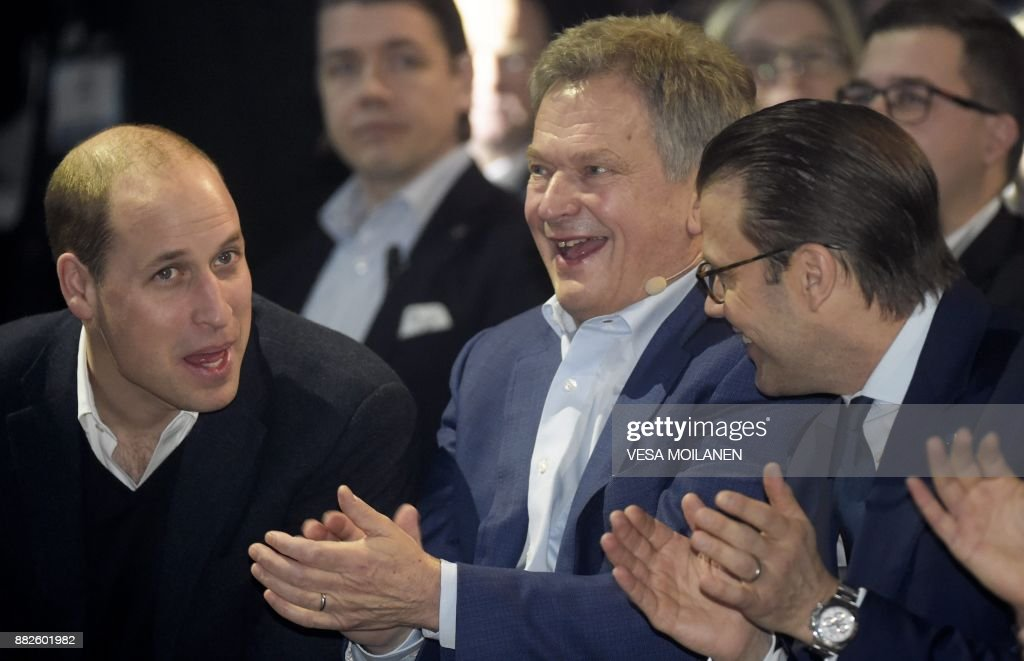 Britain's Prince William, Duke of Cambridge, Finnish President Sauli Niinistö and Prince Daniel of Sweden attend the opening of the Slush 2017 startup and technology event in Helsinki, Finland, on November 30, 2017. Slush is the focal point for startups and tech talent to meet with top-tier international investors, executives and media to help the next generation of companies forward. / AFP PHOTO / Lehtikuva / Vesa Moilanen / Finland OUT
