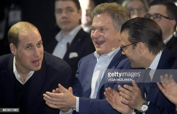 Britain's Prince William Duke of Cambridge Finnish President Sauli Niinistö and Prince Daniel of Sweden attend the opening of the Slush 2017 startup...