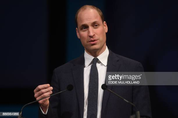 Britain's Prince William Duke of Cambridge gives the keynote address at the Children's Global Media Summit at the Manchester Central Convention...
